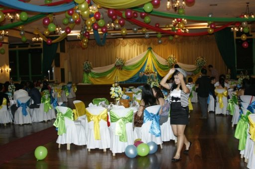 This is the venue, filled with colorful baloons and streamers. By the way, that's my sister dressed up as a mime.