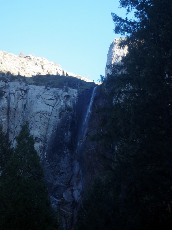 The Bridalveil fall is one of the prominent falls in Yosemite. However, water is not falling heavily because it's still winter time.