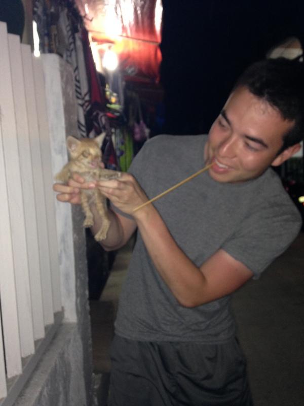 Boracay - He found a stray cat.